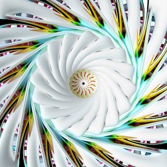 Rendu 3d d'art abstrait avec lotus 3d surréaliste ou fleur de lys ou symbole de mandala indien en forme torsadée en spirale sphérique avec structure fractale en céramique mate blanche avec des pièces en métal jaune vert