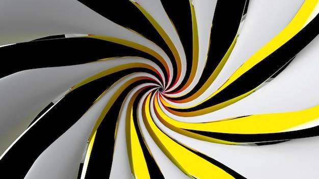 Rendu 3d de l'art abstrait avec une partie de l'entonnoir en spirale 3d surréaliste ou du symbole du mandala indien tordu
