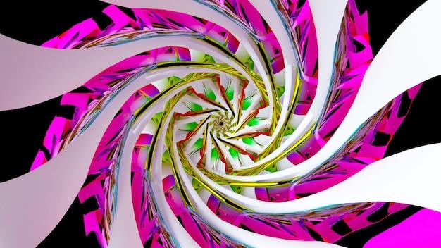 Rendu 3d de l'art abstrait avec une partie de l'entonnoir torsadé en spirale 3d surréaliste ou du symbole du mandala indien