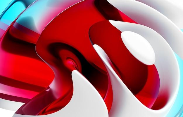 Rendu 3d de l'art abstrait partie de fond 3d fleur de boule surréaliste dans des lignes ondulées rondes de courbe organique