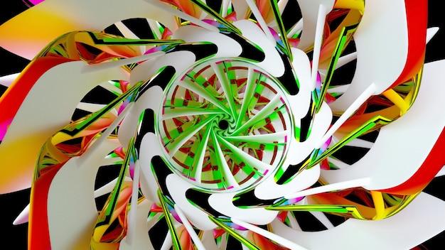 Rendu 3d art abstrait partie d'une turbine torsadée en spirale fractale ou d'une fleur extraterrestre dans des formes de lignes courbes