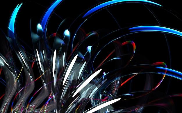 Rendu 3d d'art fond 3d avec une partie du moteur à turbine abstraite ou fleur kaléidoscopique avec des lames tranchantes dans des formes bio ondulées courbes en céramique brillante blanche, verre et matériau métallique multicolore rouge