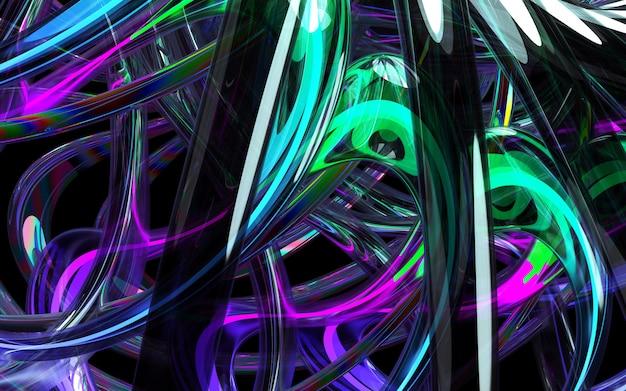 Rendu 3d d'art fond 3d avec une partie de fleur abstraite ou turbine basée sur des tubes en verre courbes lignes ondulées rondes avec éclat en néon bleu et vert élément de lumière à l'intérieur sur fond noir