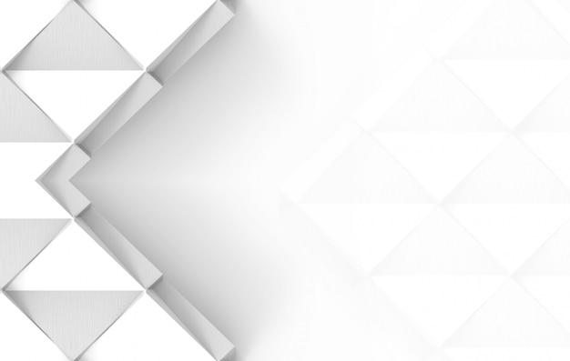 Rendu 3d d'art de papier carré grille blanche sur fond gris