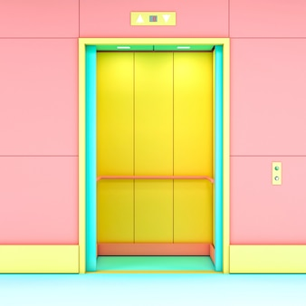 Rendu 3d d'un ascenseur moderne