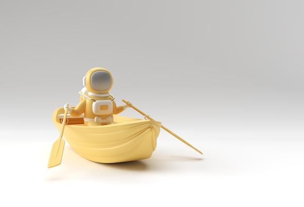 Rendu 3d d'un astronaute amusant sur l'illustration 3d du bateau.
