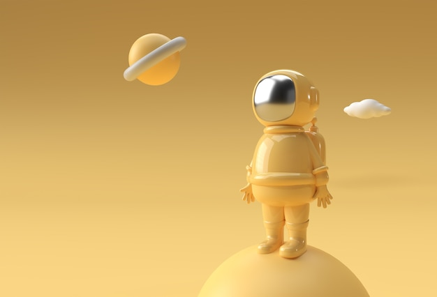 Rendu 3d astronaute astronaute cosmonaute illustration 3d conception.