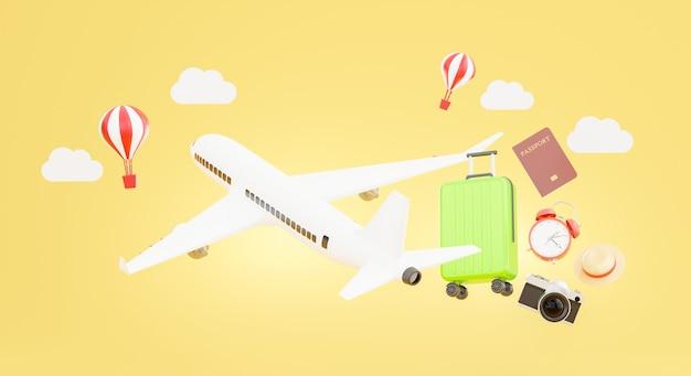 Rendu 3d de l'avion avec des accessoires de voyage et le concept de tourisme