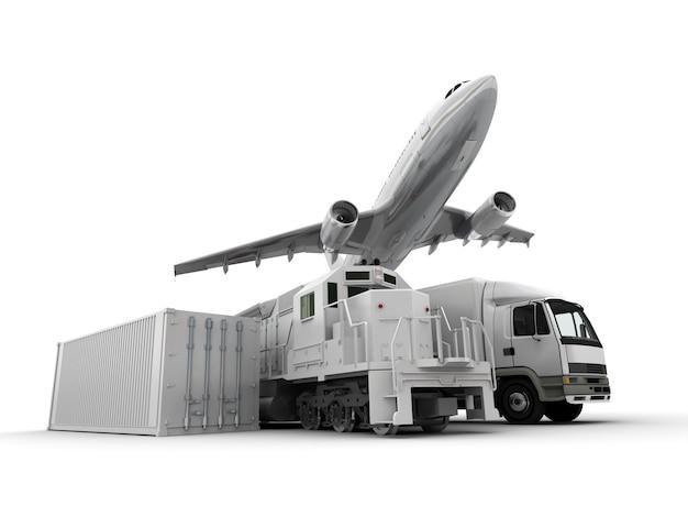 Rendu 3d d'un avion, d'un camion, d'un train de marchandises et d'un conteneur de fret contre une surface neutre