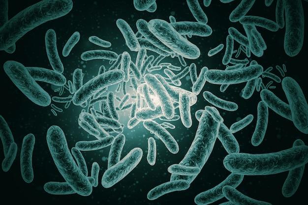 Rendu 3d de bactéries, virus, cellules