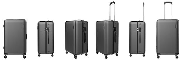 Le rendu 3d bagages étui rigide gris isolated on white