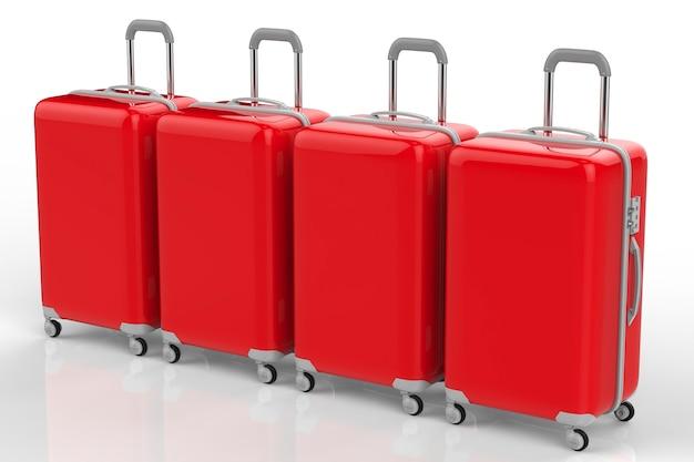 Rendu 3d bagages étui rigide rouge d'affilée sur fond blanc