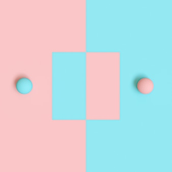 Rendu 3d de balles de golf bleu et rose sur fond alternant