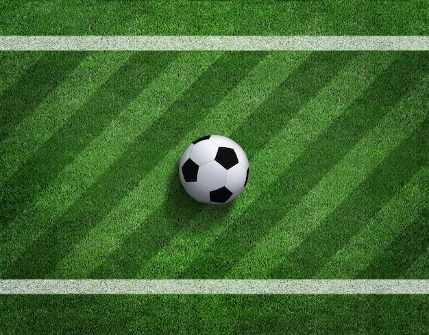 Rendu 3d de ballon de football avec une ligne sur le terrain de football.