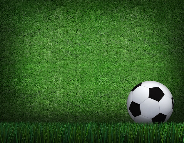 Rendu 3d de ballon de football avec ligne sur le terrain de football.