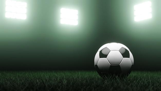 Rendu 3d. ballon de soccer sur l'herbe et le stade.