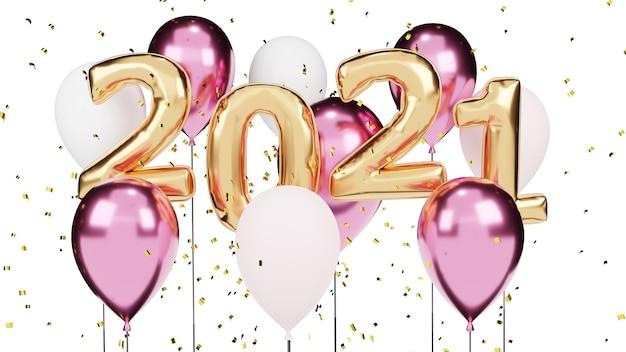Rendu 3d. ballons dorés 2021 et particules dorées. signe d'anniversaire pour le nouvel an.