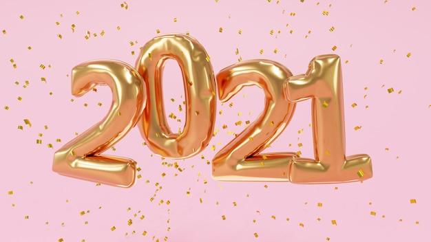 Rendu 3d. ballons dorés 2021 et particules dorées. signe d'anniversaire pour la nouvelle année.