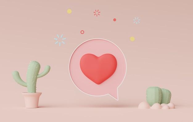 Rendu 3d d'une bannière de barre parlante minimale ou d'un commentaire de bulle d'icône avec un coeur mignon sur fond pastel