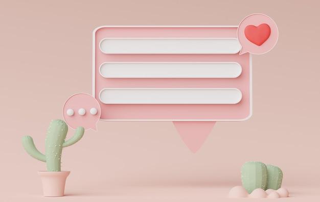 Rendu 3d d'une bannière de barre parlante minimale ou d'un commentaire de bulle d'icône avec un espace de copie vierge sur fond pastel