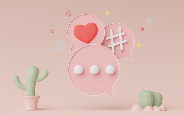 Rendu 3d d'une bannière de barre parlante minimale ou d'un commentaire de bulle d'icône sur fond pastel