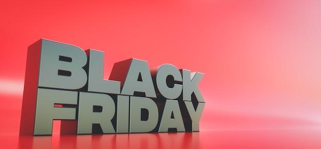 Rendu 3d. bannière pour la vente du black friday. conception pour la promotion ou la publicité avec espace de copie