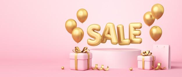 Rendu 3d de la bannière de vente sur fond rose. mot de vente, ballons, sac à provisions, coffrets cadeaux, éléments de ruban doré qui traînent. rendu 3d