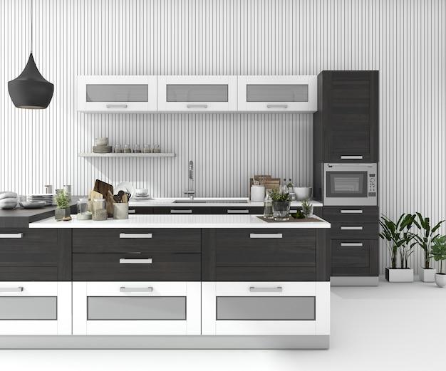 Rendu 3d bar noir cuisine dans une pièce minimale