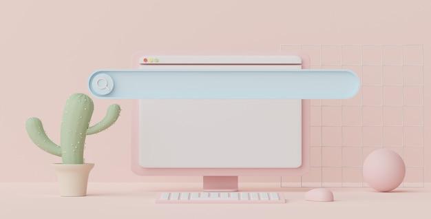 Rendu 3d d'une barre de menu de recherche minimale ou d'une bannière vierge grossissant avec un espace de copie sur un fond de ton pastel
