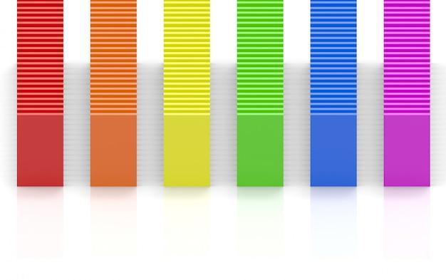 Rendu 3d. barres de panneau de conception de couleur arc-en-ciel lgbt sur fond de mur blanc.