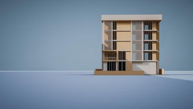 Rendu 3d d'un bâtiment commercial avec fond bleu
