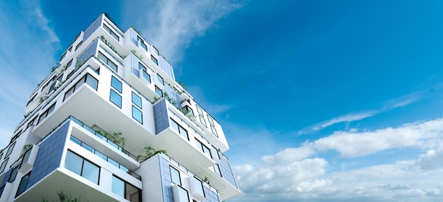 Rendu 3d d'un bâtiment formé de blocs d'habitation avec jardins et panneaux solaires