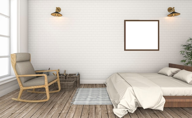 Rendu 3d beau mur de briques blanches chambre vintage
