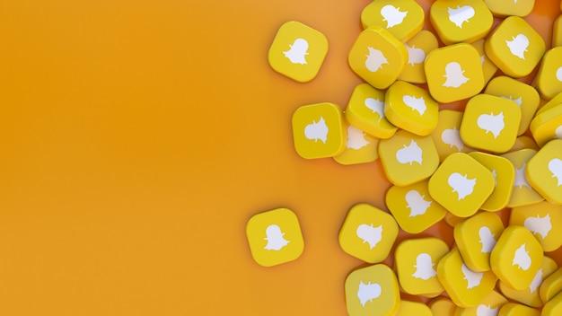 Rendu 3d beaucoup de badges carrés snapchat sur orange