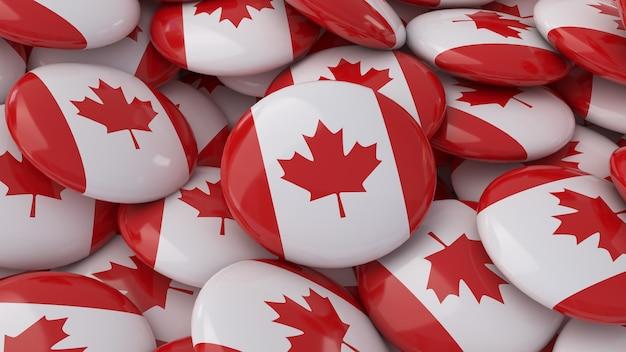 Rendu 3d de beaucoup de badges avec le drapeau canadien en vue rapprochée