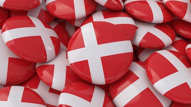 Rendu 3d de beaucoup de badges avec le drapeau danois en vue rapprochée