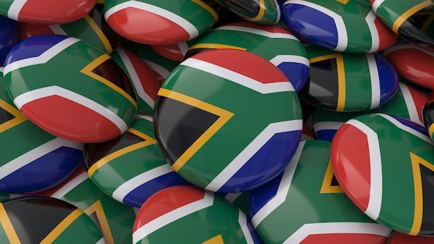 Rendu 3d de beaucoup de badges avec le drapeau sud-africain en vue rapprochée
