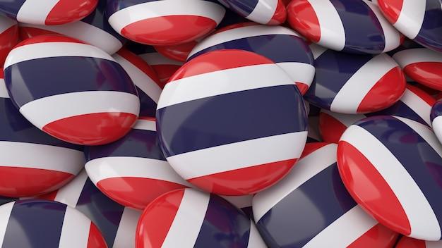 Rendu 3d de beaucoup de badges avec le drapeau thaïlandais en vue rapprochée