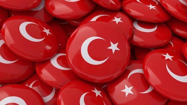 Rendu 3d de beaucoup de badges avec le drapeau turc en vue rapprochée