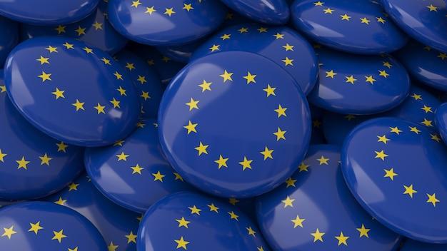 Rendu 3d de beaucoup de badges avec le drapeau de l'union européenne en vue rapprochée