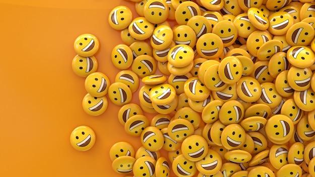 Rendu 3d de beaucoup d'émojis souriants dans des pilules brillantes sur orange