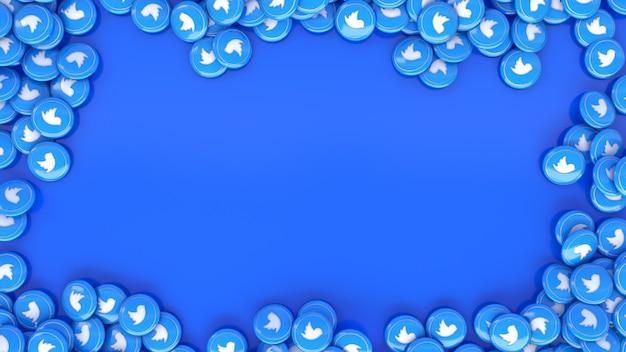 Le rendu 3d de beaucoup de pilules brillantes instagram multicolores sur bleu