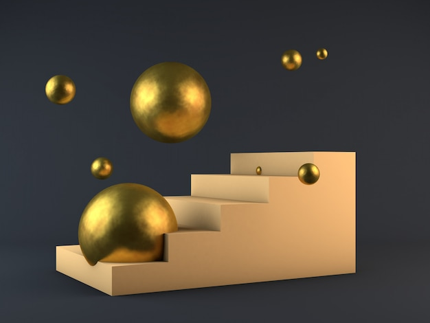 Rendu 3d beige crème escaliers et stade gagnant de la sphère de bronze