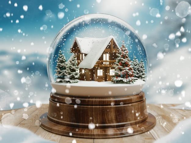 Rendu 3d belle boule de neige ou boule de neige avec chutes de neige et maison de montagne à l'intérieur