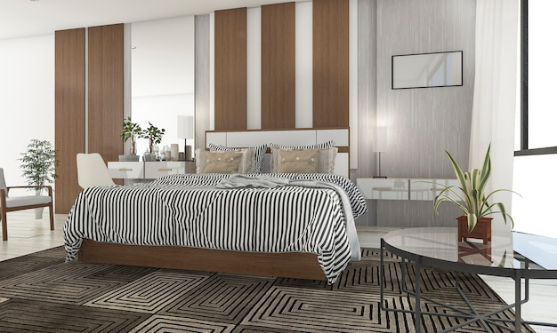 Rendu 3d belle chambre avec belle terrasse