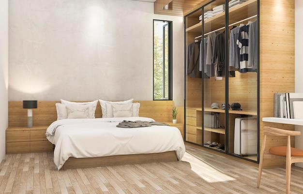 Rendu 3d belle chambre contemporaine en bois avec une belle armoire en tissu