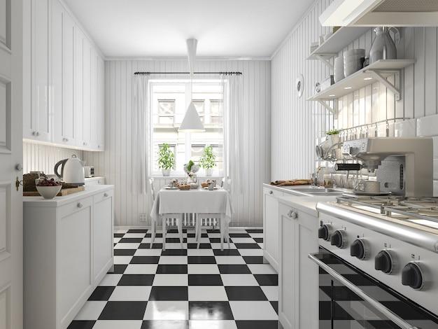 Rendu 3d belle cuisine scandinave avec un décor de carreaux noir