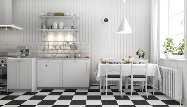 Rendu 3d belle cuisine scandinave avec décor de carreaux noirs