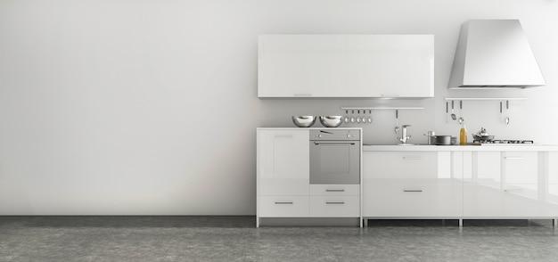 Rendu 3d belle cuisine situé dans une salle de style minimal