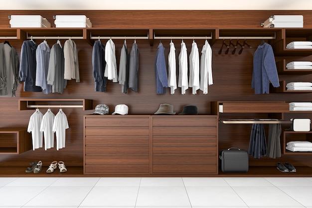 Rendu 3d belle penderie horizontale en bois et promenade dans le placard